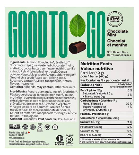 Nutrition facts and ingredients panel of Good To Go Chocolate Mint Snack bar for serving size of 1 bar (40 g)