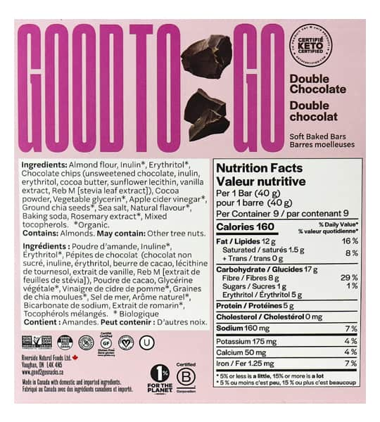 Nutrition facts and ingredients panel of Good To Go Double Chocolate Snack bar for serving size of 1 bar (40 g)