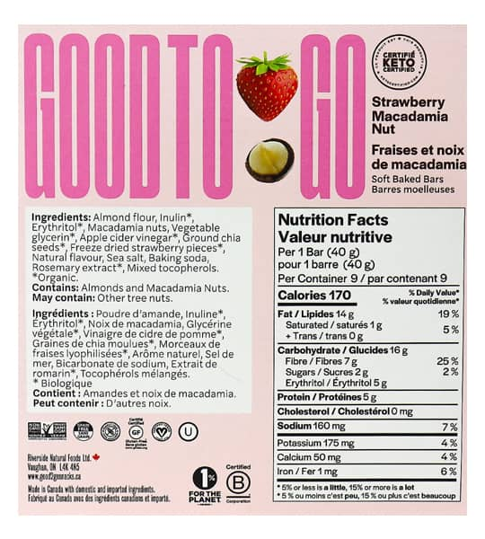 Nutrition facts and ingredients panel of Good To Go Strawberry Macadamia Nut Snack bar for serving size of 1 bar (40 g)