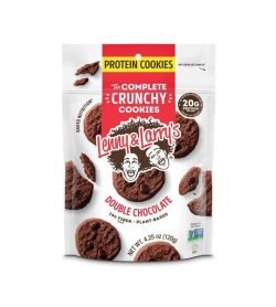 White and red pouch of Lenny & Larry's the complete crunchy protein cookies double chocolate