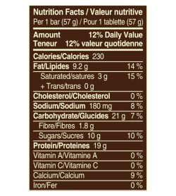 Nutrition facts panel of Snickers Protein bar with Peanut Butter for a serving size of 1 bar (57 g)