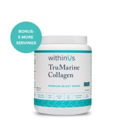 One white and cyan container of Within Us TruMarine collagen 50 servings
