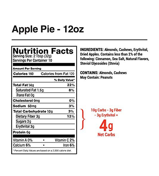 Nutrition facts and ingredients panel of Legendary Foods Apple Pie Almond & Cashew Butter for a serving size of 2 tbsp (32 g)