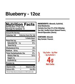 Nutrition facts and ingredients panel of Legendary Foods Blueberry Cinnamon Almond Butter for serving size of 2 tbsp (32 g)
