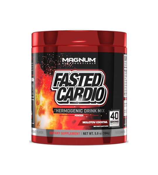 Red and black container of Magnum Fasted Cardio 40 servings Molotov Cocktail dietary supplement
