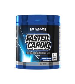 Blue and black container of Magnum Fasted Cardio 40 servings Shock Therapy dietary supplement