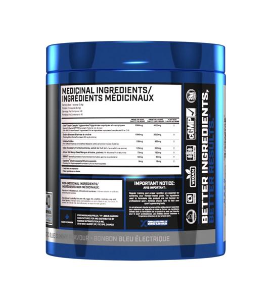 Blue and black bottle showing medicinal ingredients panel side of Magnum Fasted Cardio 40 servings