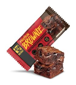 Red and brown pack of Mutant Protein Brownie with Chocolate Fudge flavour shown with a brownie