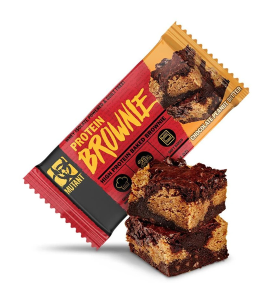 Red and orange pack of Mutant Protein Brownie with Chocolate Peanut Butter flavour shown with a brownie