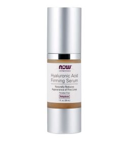 Silver bottle of NOW Hyaluronic Acid Firming Serum Naturally Reduces Appearance of Fine Lines contains 30 ml