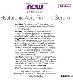 Usage and ingredients panel of NOW Hyaluronic Acid Firming Serum 30 ml