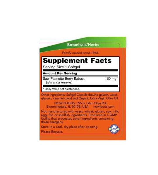 Supplement facts and ingredients panel of NOW Saw Palmetto for serving size of 1 softgel contains 60 Softgels