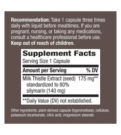 Supplement facts and ingredients panel of Natures Way Thisilyn 100 caps