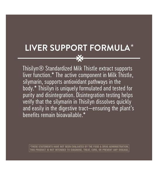 Info panel of Natures Way Thisilyn Liver support formula 100 caps