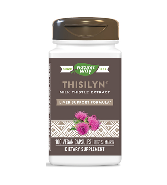 White and brown bottle of Natures Way Thisilyn Milk Thistle Extract Liver Support Formula 100 vegan capsules