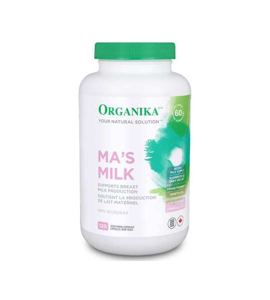 White and green bottle of Organika Ma's Milk supports breast milk production contains 120 Vegetarian Capsules