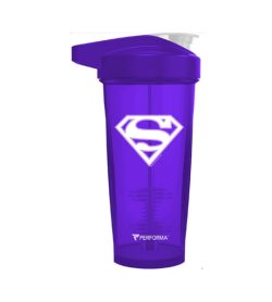 Purple bottle with purple cap of Performa ACTIV Shaker Cup 28oz Supergirl