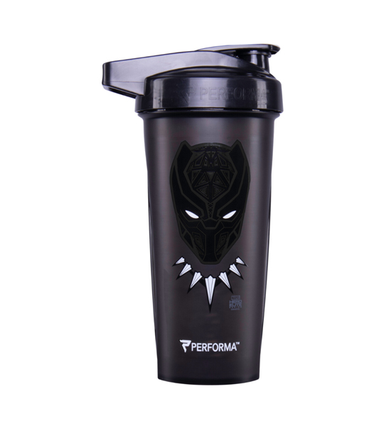 Black bottle with black cap of Performa Classic Shaker Cup 28oz Black Panther
