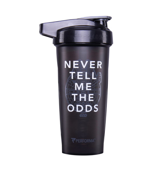 Black bottle with black cap of Performa Classic Shaker Cup 28oz Never Tell Me the Odds