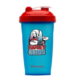 Blue bottle with red cap of Performa DC Comics Villain Series shown in white background
