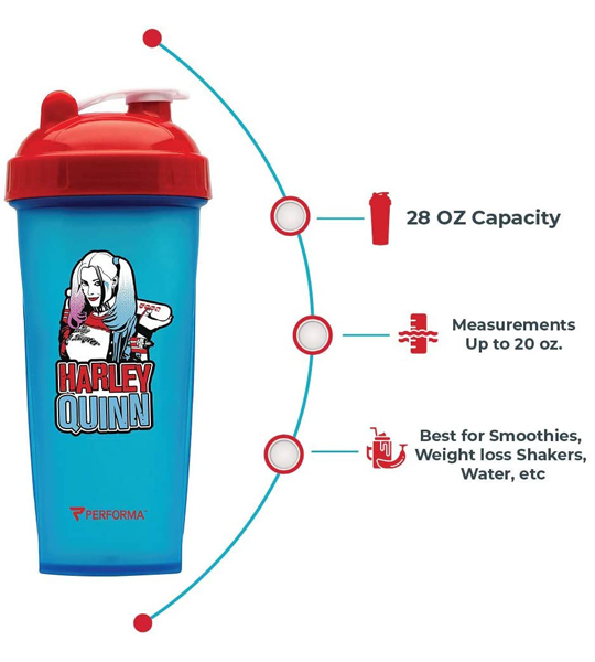 Blue bottle with red cap of Performa DC Comics Villain Series showing details
