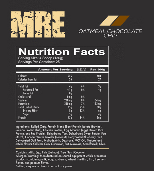 Nutrition facts and ingredients panel of Redcon1 MRE Meal Ready-To-Eat with oatmeal chocolate chip flavour
