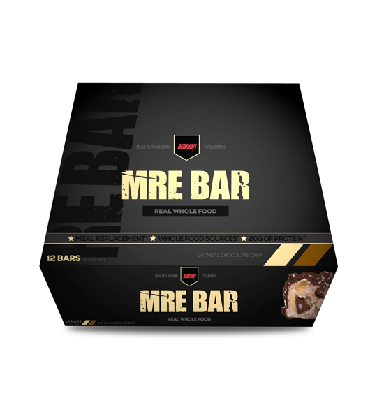 Black box of Redcon1 MRE Protein Bar Real Whole Food contains 12 bars