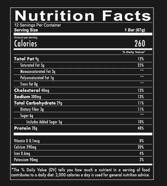 Nutrition facts panel of Redcon1 MRE Protein Bar for a serving size of 1 bar (67 g)