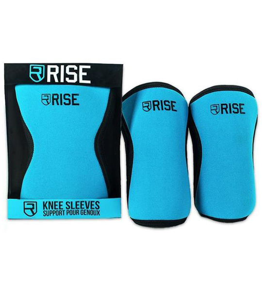 Blue Rise Knee Sleeves shown one inside package and 2 outside in white background