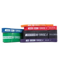 Multi color Rise Monster Bands stacked shown in white background