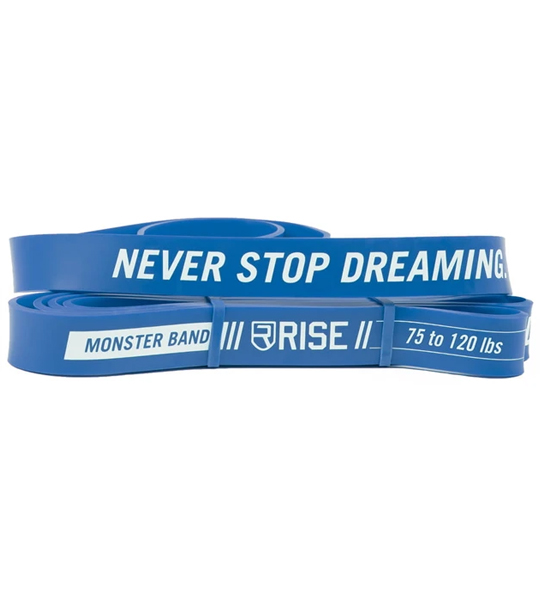 Blue Rise Monster Bands with words Never Stop Dreaming shown in white background