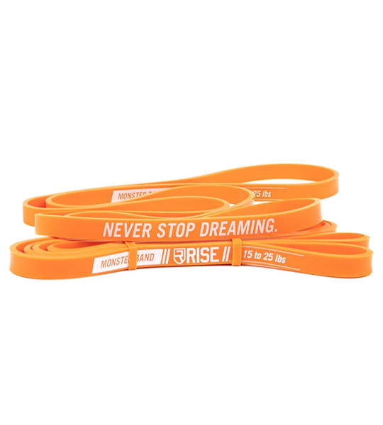 Orange Rise Monster Bands with words Never Stop Dreaming shown in white background