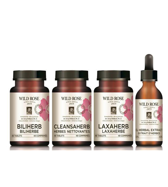 Pink and orange bottles with black cap of Wild Rose Gentle D-tox Biliherb, Cleansaherb, Laxaherb, and, CL Herbal extract