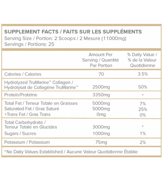 Supplement facts panel of WithinUs Coconut Creamer for a serving size of 2 scoops (11000 mg)