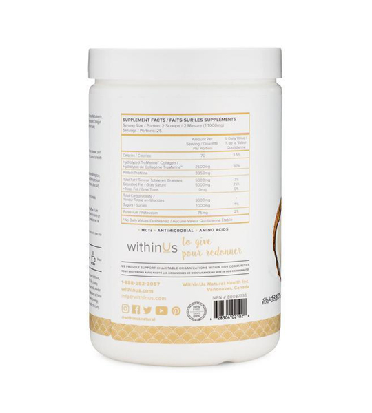 White container showing supplement facts side of WithinUs Coconut Creamer