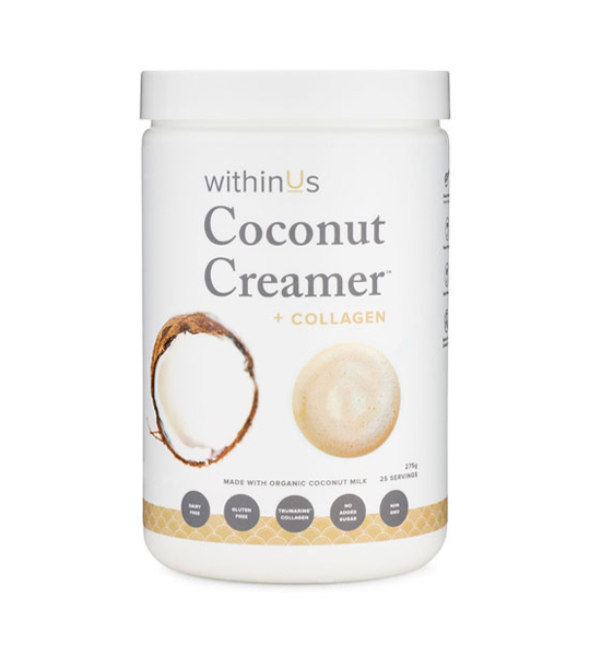 White container of WithinUs Coconut Creamer + Collagen shown in white background