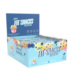 One blue and cyan box of Alaninu Fit Snacks Protein Bars 1Box Blueberry Muffin flavour