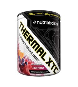 White and black container with fruits picture of Nutrabolics Thermal XTC with Fruit Punch flavour