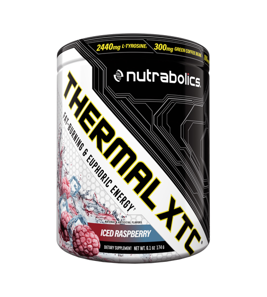 White and black container of Nutrabolics Thermal XTC with Iced Raspberry flavour