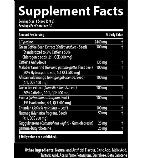 Supplement facts panel of Nutrabolics Thermal XTC for serving size of 1 scoop (5.8 g)