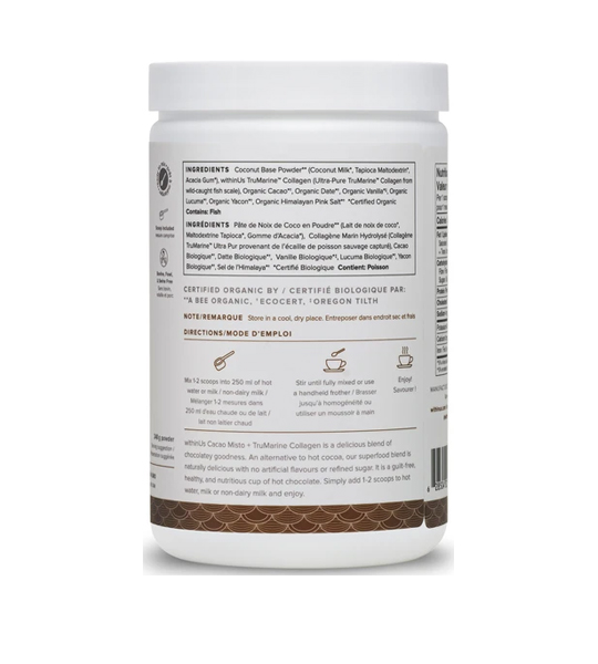 White and brown container showing ingredients panel of WithinUs Cacao Misto+TruMarine Collagen