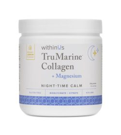 White and blue bottle of WithinUs TruMarine Collagen + magnesium night-time calm with organic lemon flavour