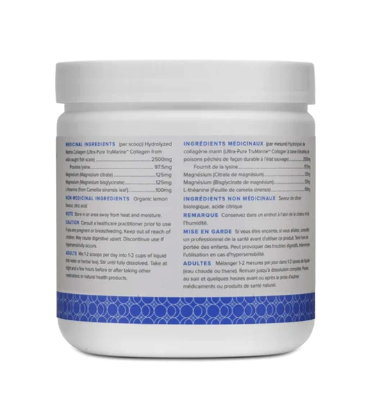 White and blue bottle showing ingredients panel of WithinUs TruMarine Collagen+Magnesium