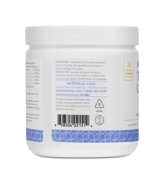 Back side of white and blue bottle of WithinUs TruMarine Collagen+Magnesium