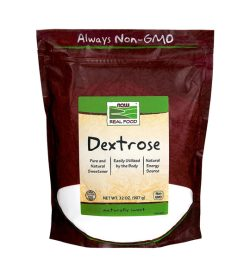 One brown and white pack of NOW Dextrose 907g naturally sweet