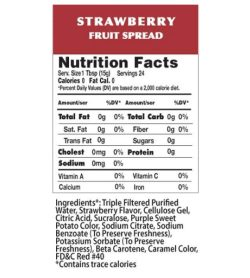 Nutrition fact and ingredients panel of Walden Farms Fruit Spread Strawberry Serv. Size1 Tbsp (15g) Servings 24