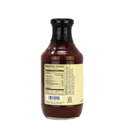 One brown and yellow bottle of GHuges Sugar Free Sauces 510 g facts side
