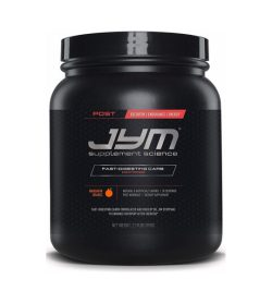 One black and pink container of Jym Fast Digesting Carbs Mandarin Orange flavour