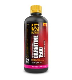 One black red and yellow bottle of Mutant Liquid Carnitine 1500 Fruit Punch Flavor
