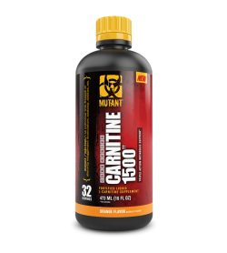 One black red and yellow bottle of Mutant Liquid Carnitine 1500 Orange Flavor